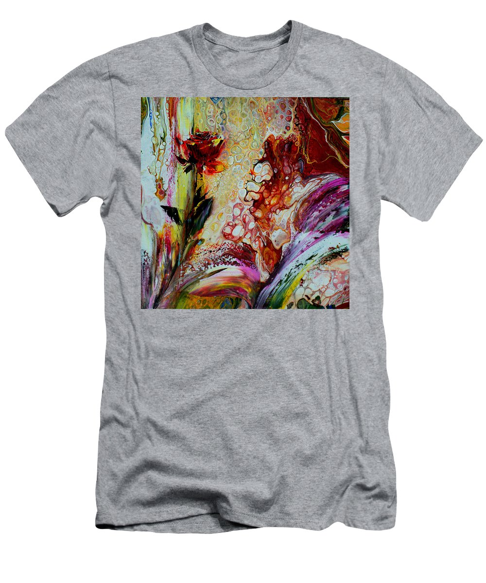 Art Men's T-Shirt (Athletic Fit) featuring the painting Floral Miracle by Nelu Gradeanu