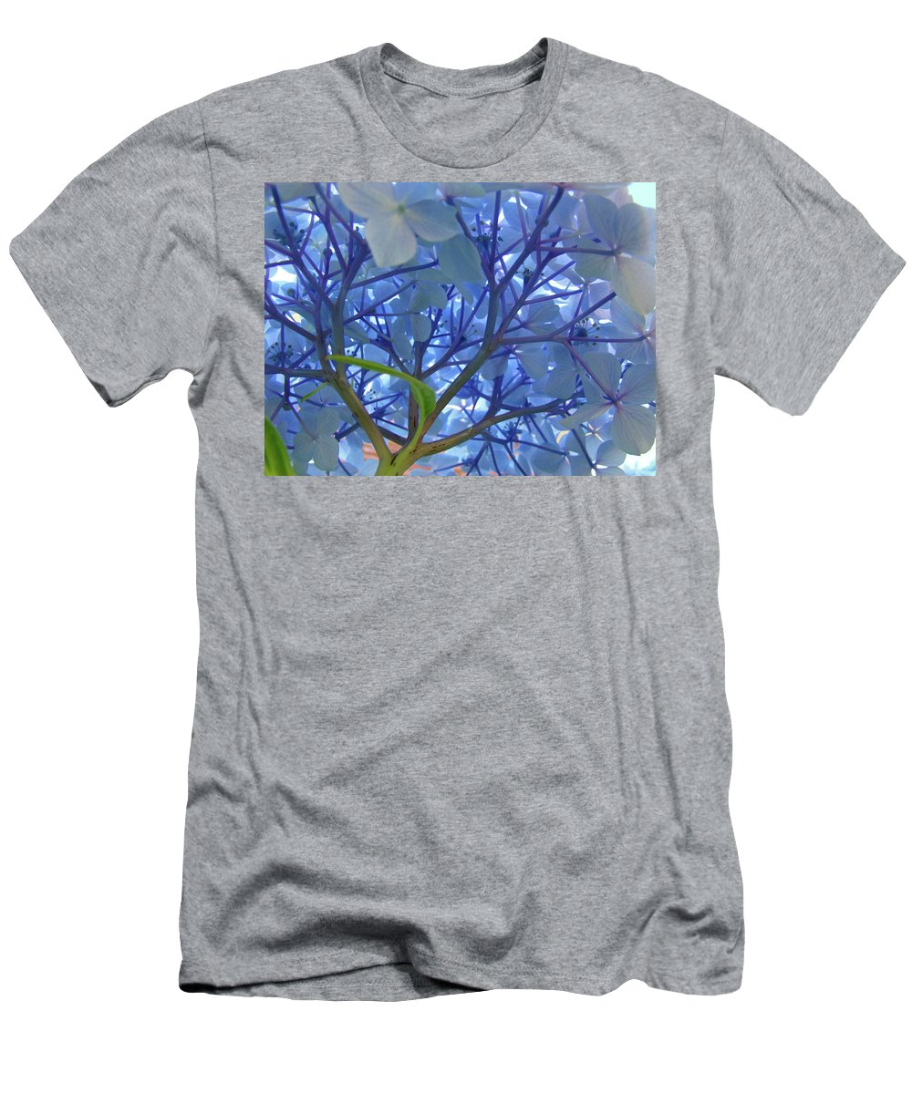 Nature Men's T-Shirt (Athletic Fit) featuring the photograph Floral Sunlit Blue Hydrangea Flower Baslee Troutman by Baslee Troutman