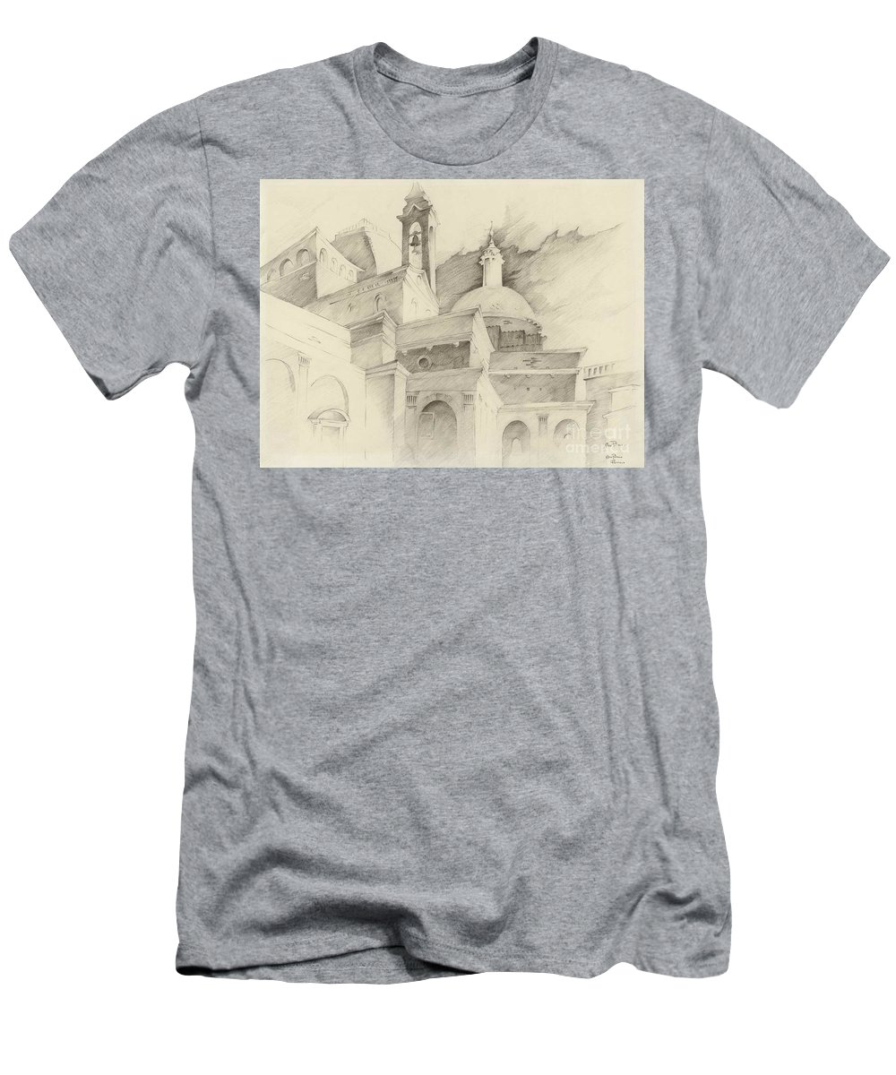 Men's T-Shirt (Athletic Fit) featuring the drawing Florence Italy by Ellen Palmer Legacy Art