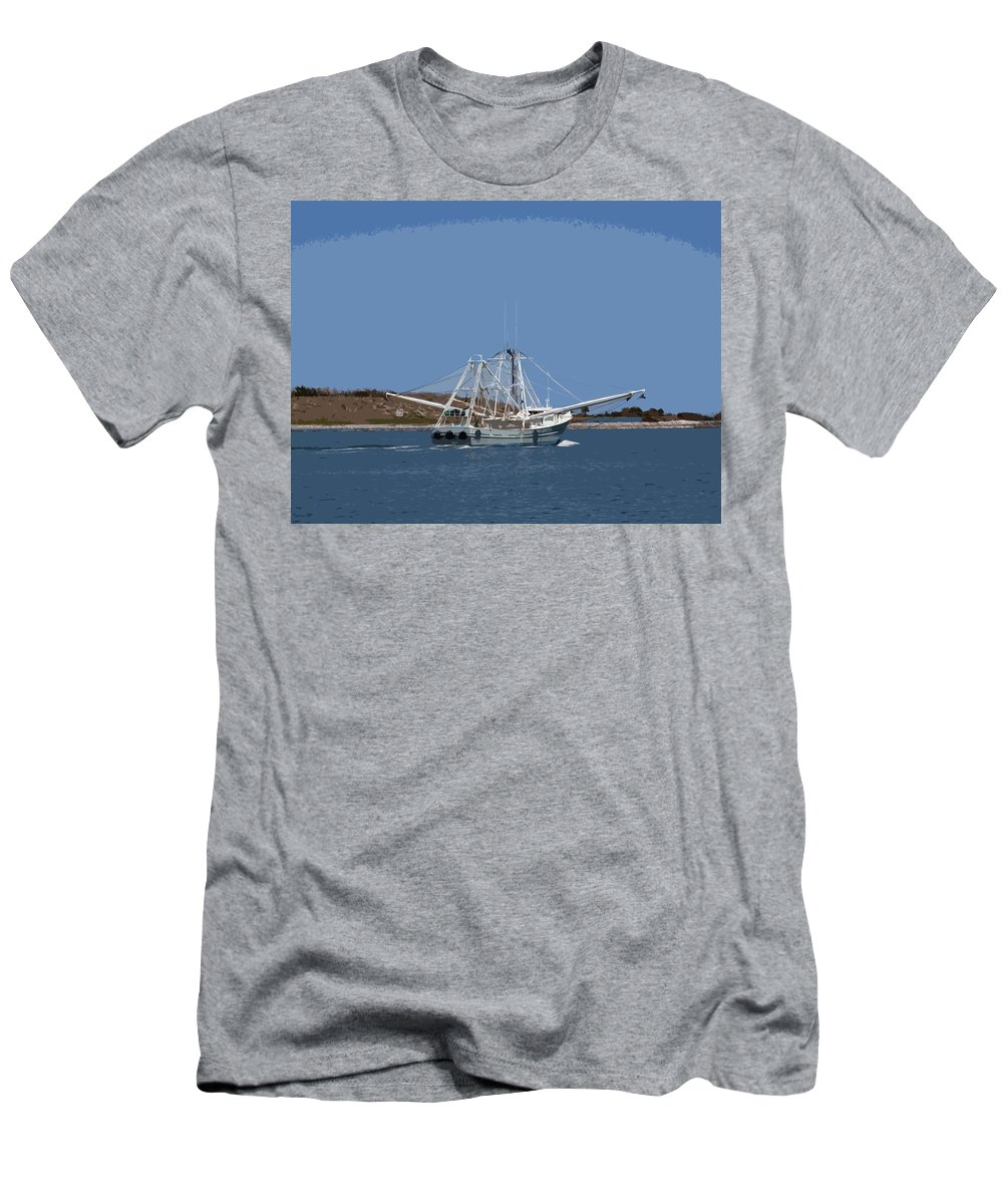 Shrimp Men's T-Shirt (Athletic Fit) featuring the painting Florida Shrimper by Allan Hughes