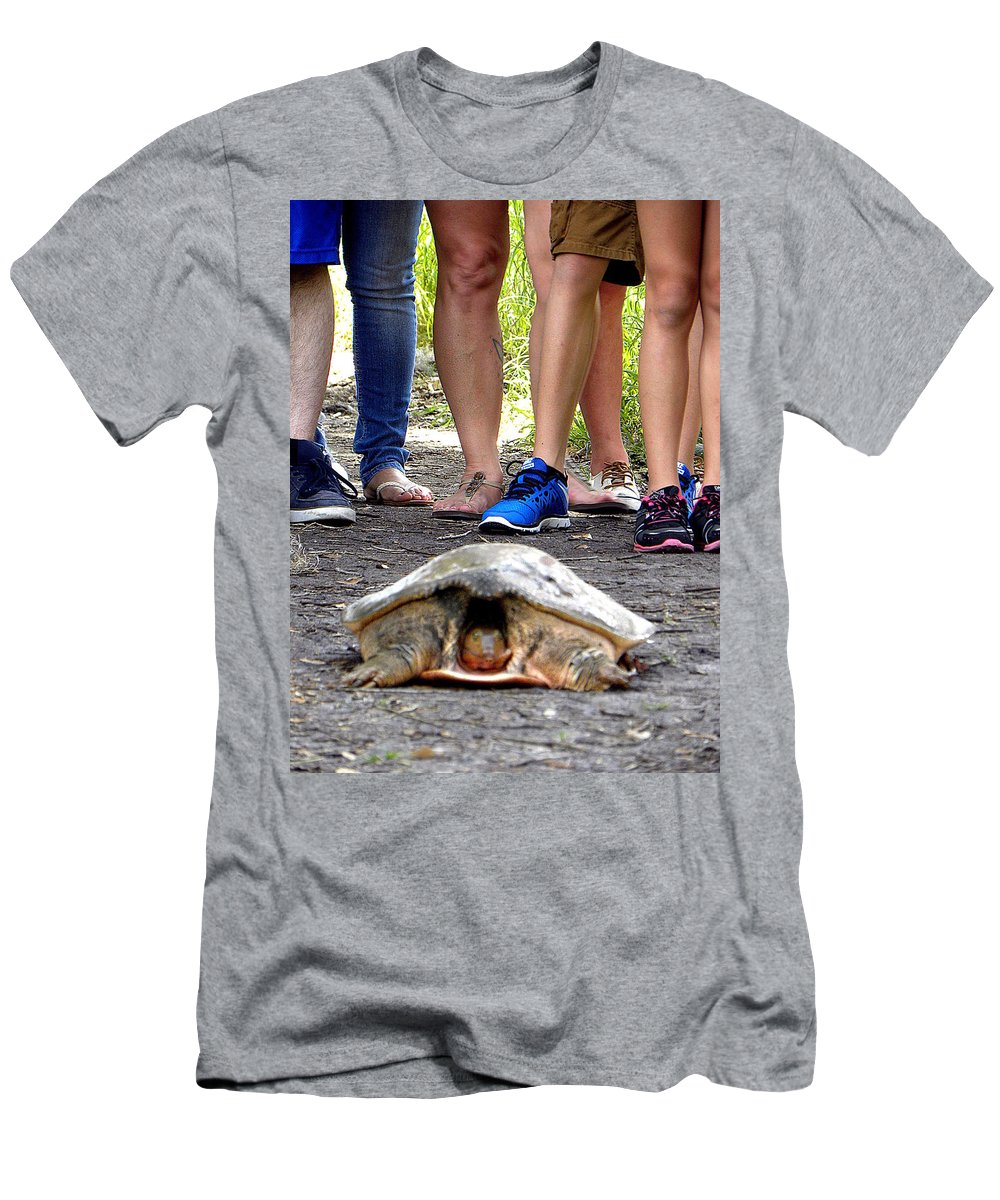 Turtle Men's T-Shirt (Athletic Fit) featuring the photograph Florida Softshell Turtle 003 by Chris Mercer