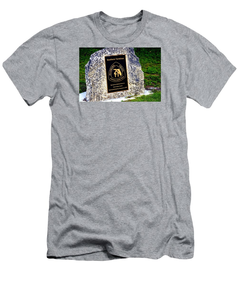 Florida Men's T-Shirt (Athletic Fit) featuring the photograph Florida Trail Southern Terminus by Amy Nichter