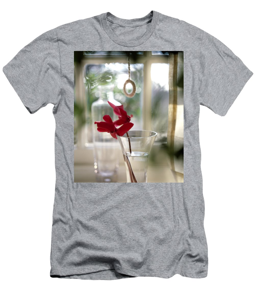 Flower Men's T-Shirt (Athletic Fit) featuring the photograph Flower And Window by Daniel Troy