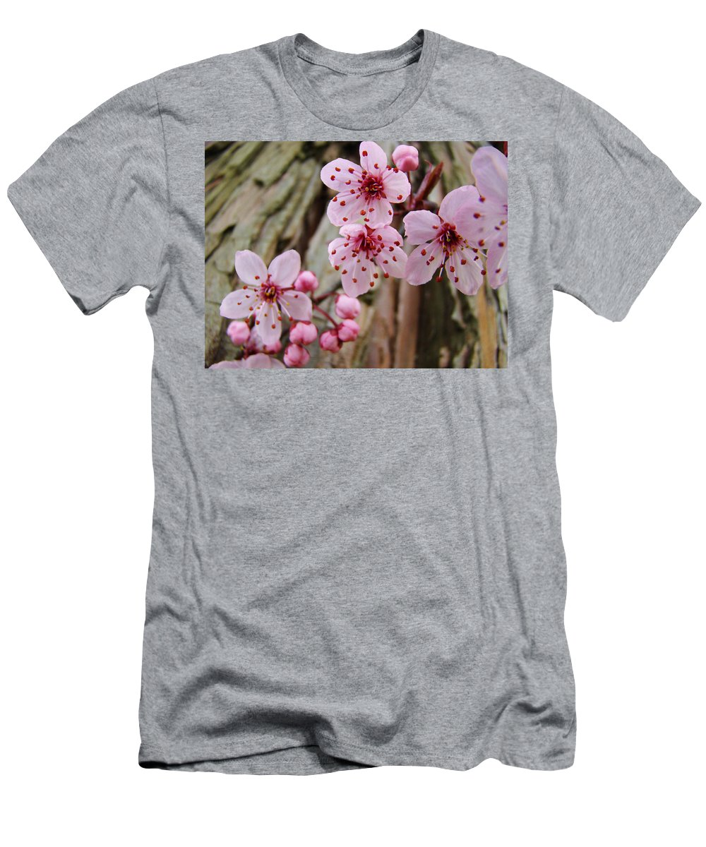 Tree Men's T-Shirt (Athletic Fit) featuring the photograph Flower Blossoms Pink Tree Blossoms Art Print Giclee Spring Flowers by Baslee Troutman