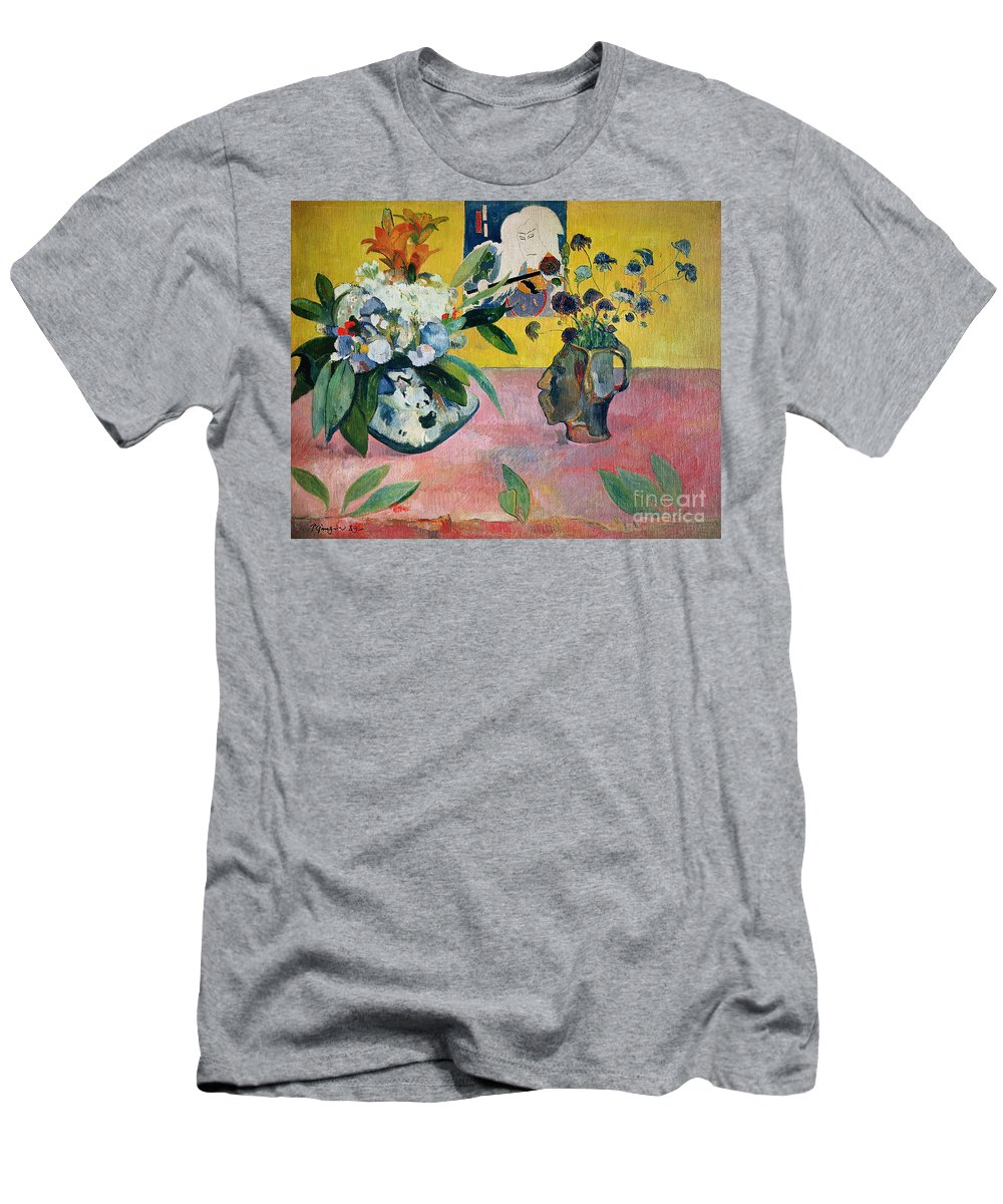 Gauguin Men's T-Shirt (Athletic Fit) featuring the painting Flowers And A Japanese Print by Paul Gauguin