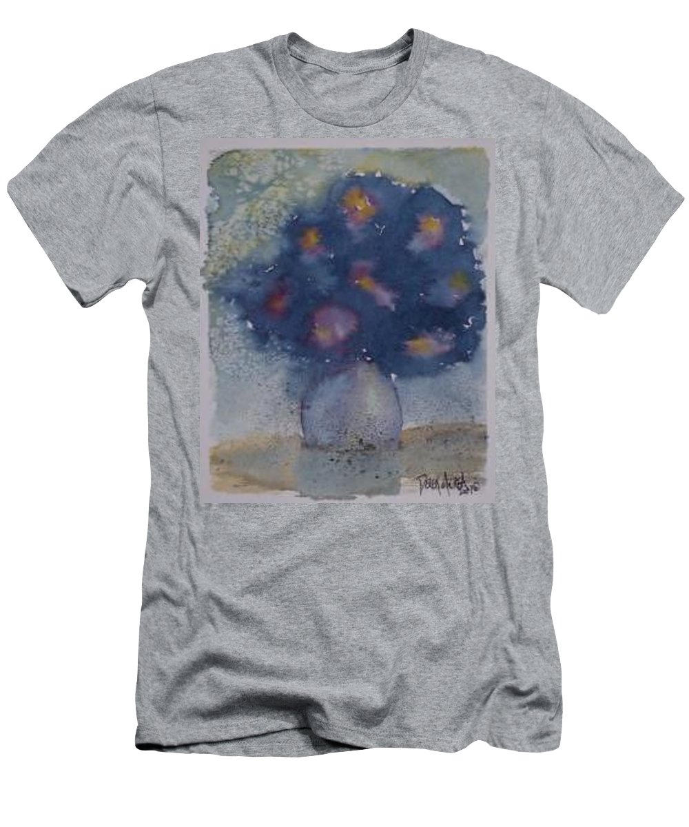 Watercolor Men's T-Shirt (Athletic Fit) featuring the painting Flowers At Night Original Abstract Gothic Surreal Art by Derek Mccrea
