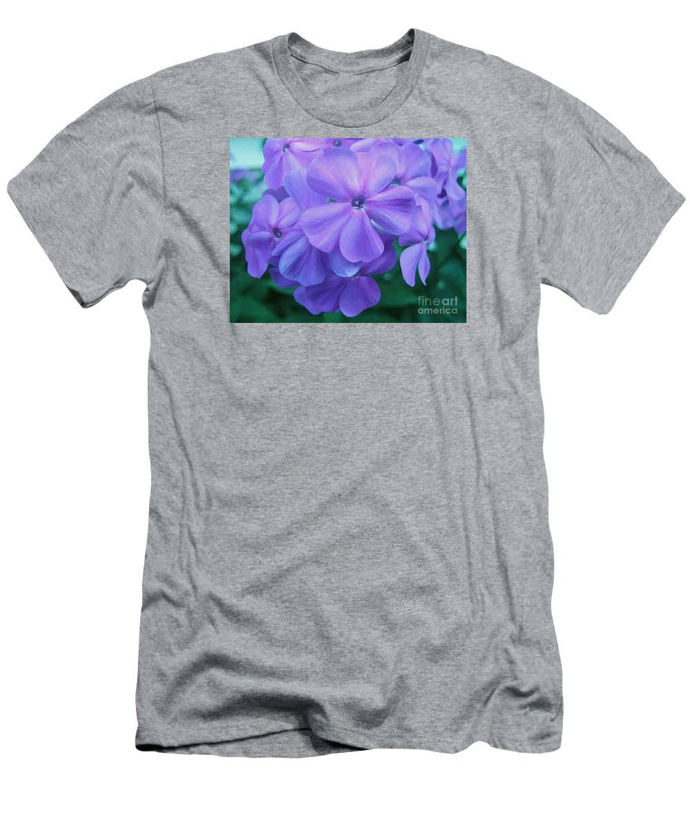 Purple Flowers Artwork Men's T-Shirt (Athletic Fit) featuring the photograph Flowers In The Garden by Reb Frost