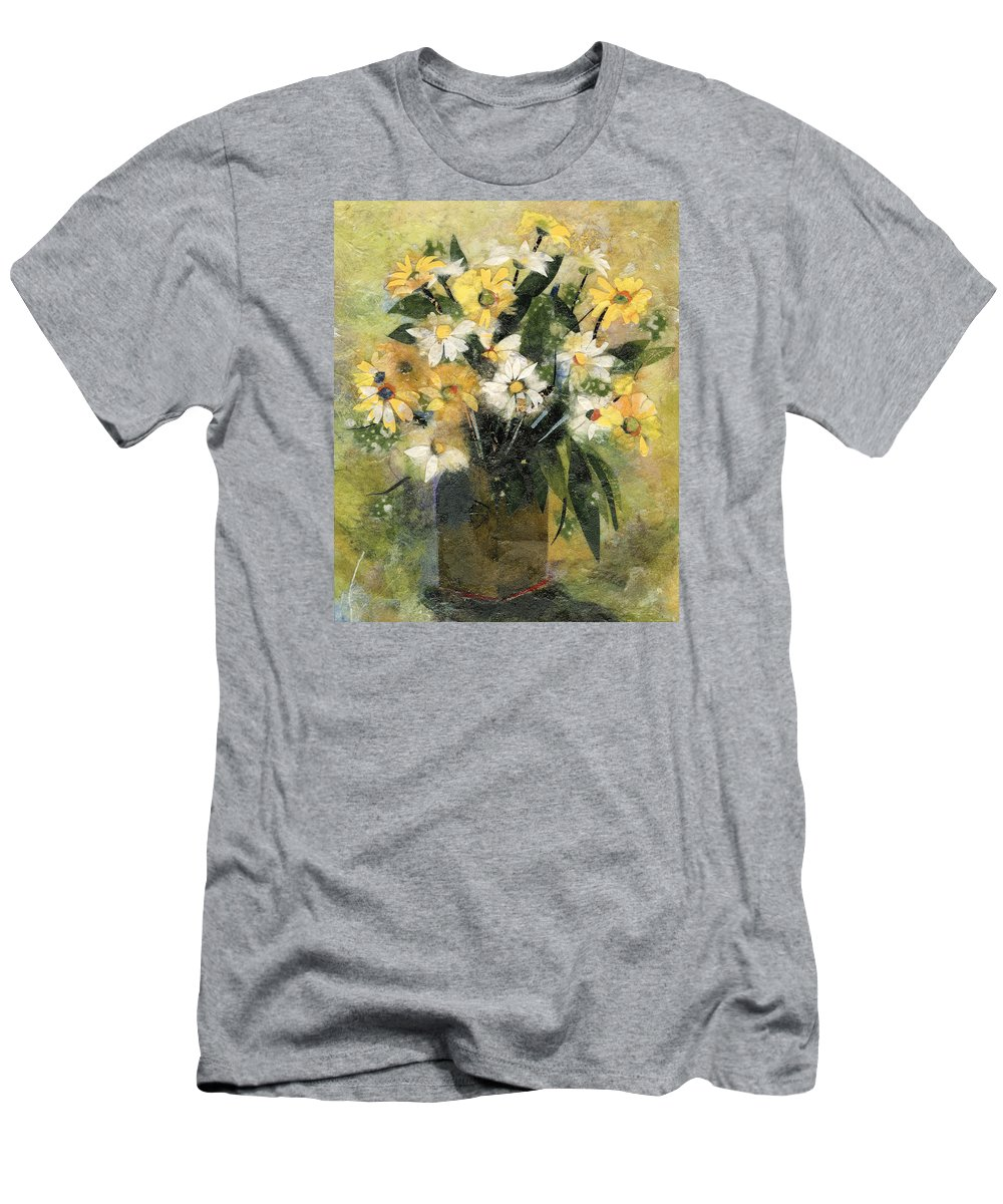 Limited Edition Prints Men's T-Shirt (Athletic Fit) featuring the painting Flowers In White And Yellow by Nira Schwartz