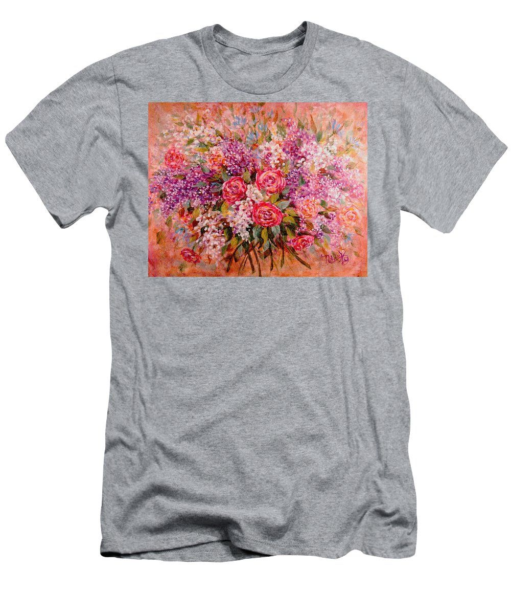 Romantic Flowers Men's T-Shirt (Athletic Fit) featuring the painting Flowers Of Romance by Natalie Holland