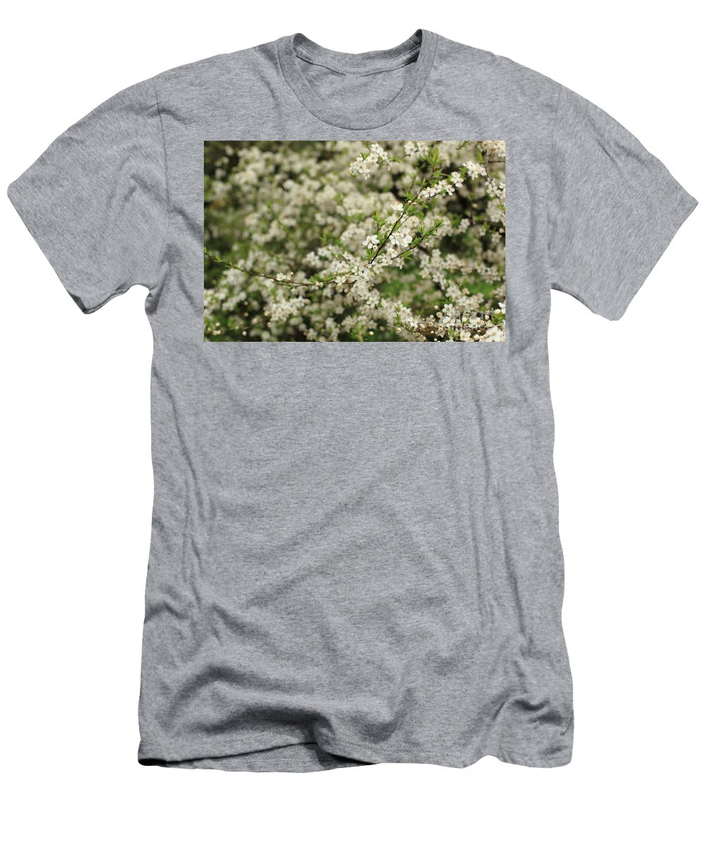 Horizontal Men's T-Shirt (Athletic Fit) featuring the photograph Flowers On A Plum Tree by Stefania Levi