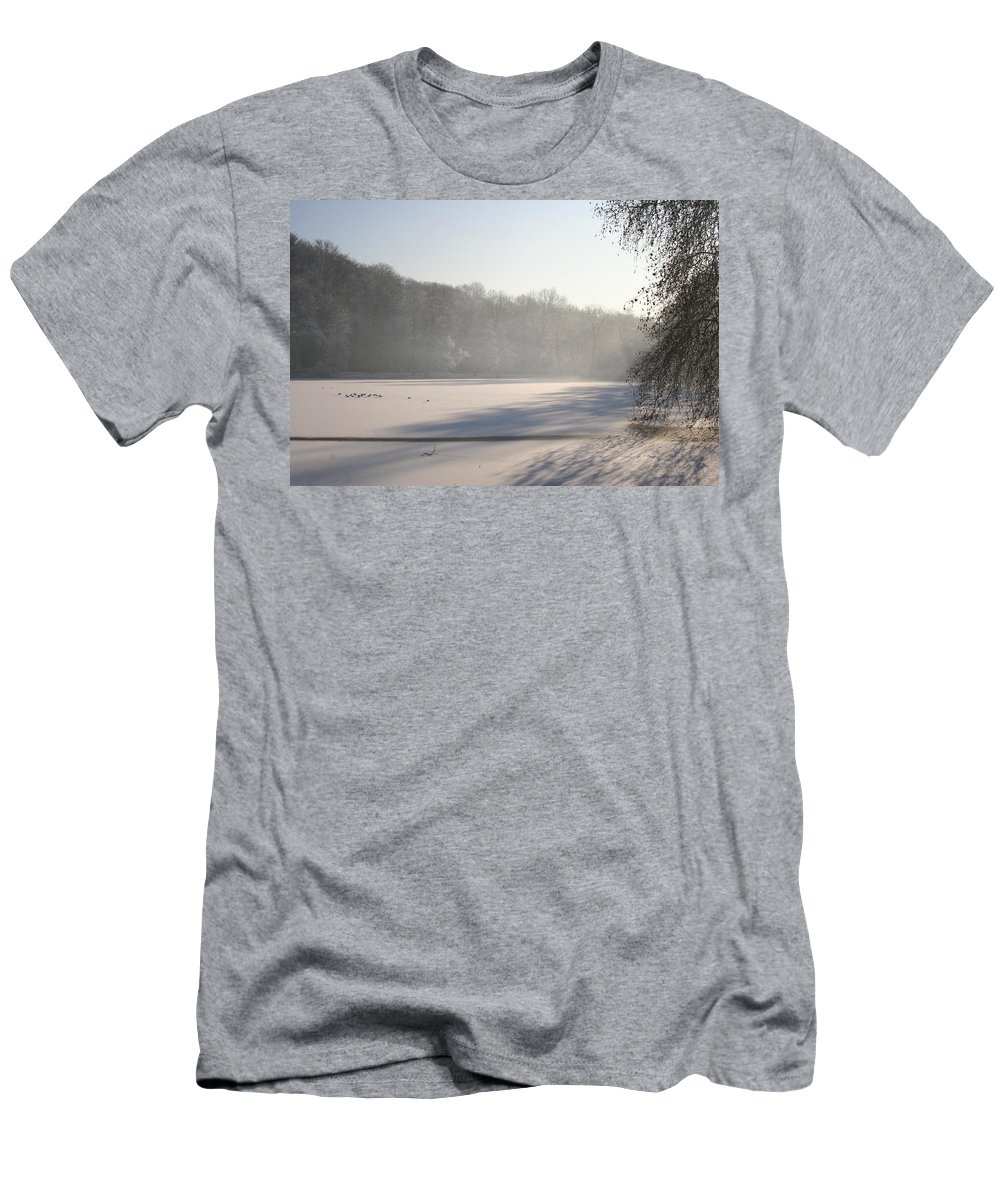 Fog Men's T-Shirt (Athletic Fit) featuring the photograph Fog And Snow by Christiane Schulze Art And Photography
