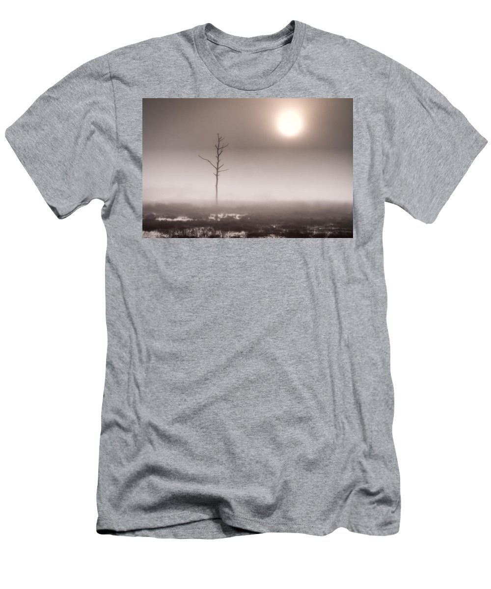 Adventure Men's T-Shirt (Athletic Fit) featuring the photograph Foggy Dawn And The Burning Sun by Rich Leighton