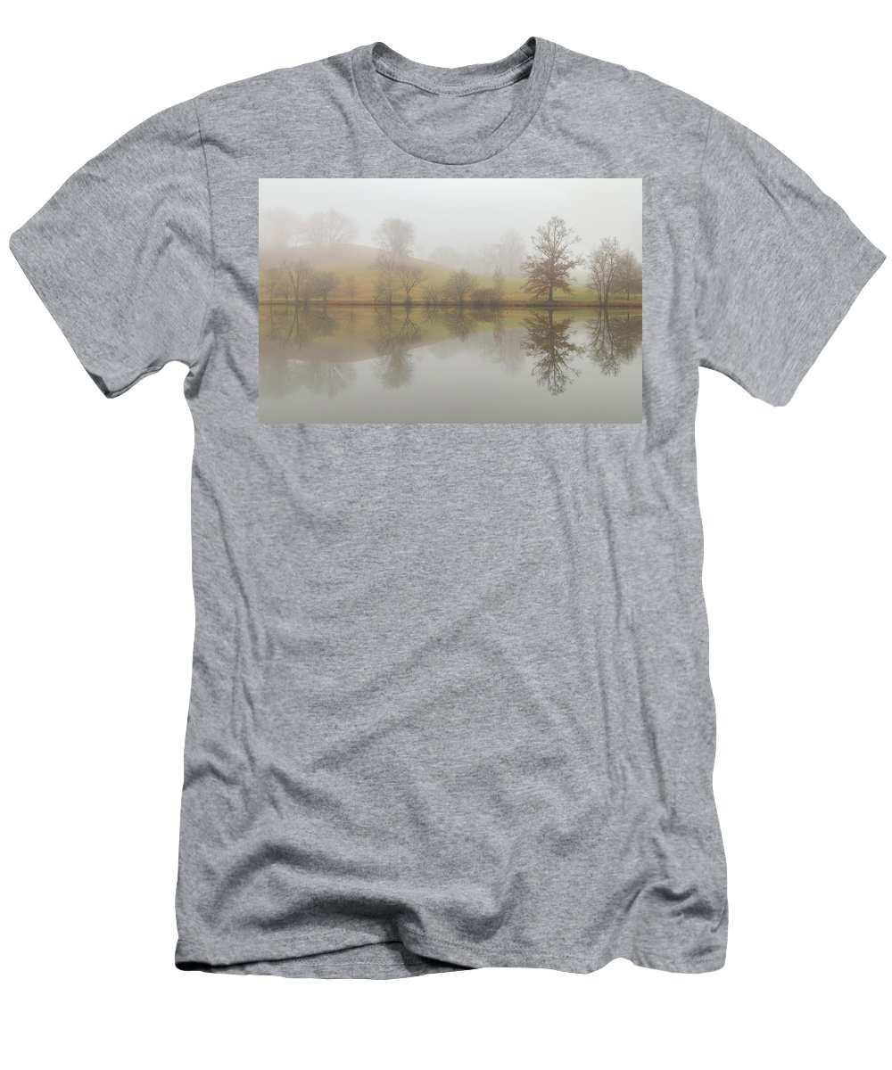 Lagoon Men's T-Shirt (Athletic Fit) featuring the photograph Foggy Lagoon Reflection #1 by Dan Farmer