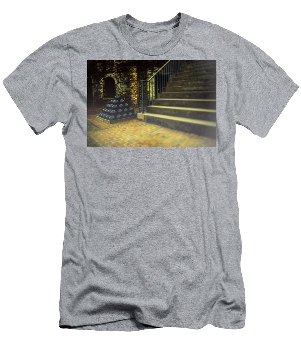 Fort Macon Men's T-Shirt (Athletic Fit) featuring the photograph Foggy Morning At The Fort by Jacob Rose