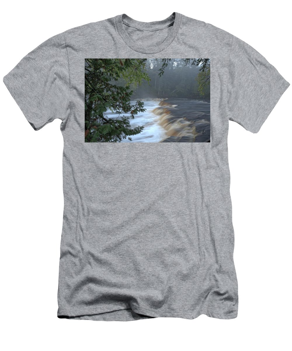 Tahquamenon Falls Men's T-Shirt (Athletic Fit) featuring the photograph Foggy Morning On Lower Tahquamenon Falls by Kathryn Lund Johnson