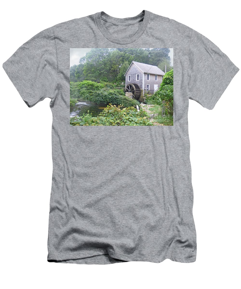 Landscape Men's T-Shirt (Athletic Fit) featuring the photograph Foggy Stony Brook Grist Mill Cape Cod by Sharon Eng