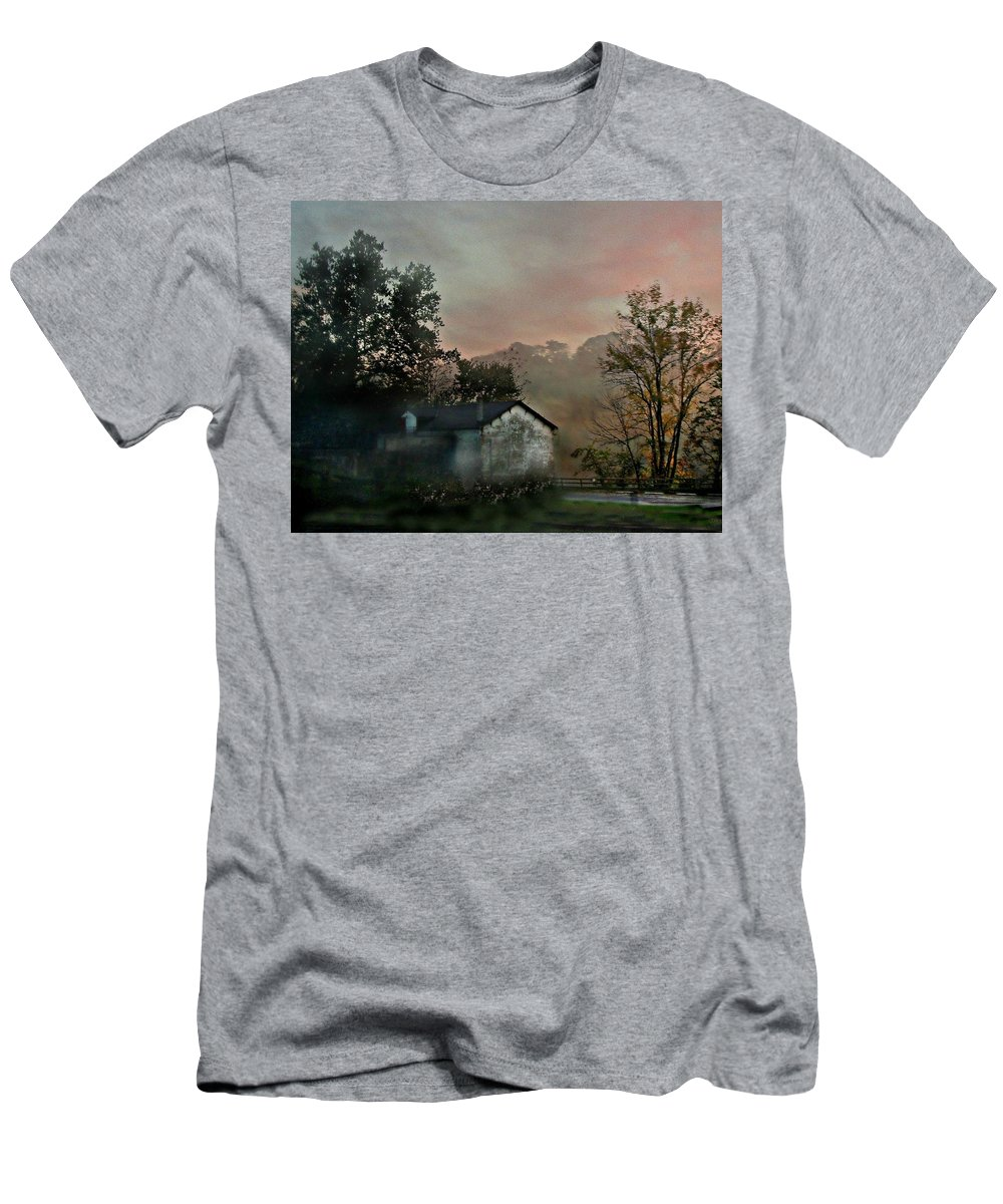 Barns Men's T-Shirt (Athletic Fit) featuring the photograph Foggy Sunrise In The Mountains by Valerie Stein