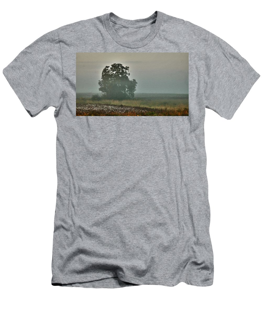 Flowers Men's T-Shirt (Athletic Fit) featuring the digital art Foggy Tree In The Field by Michael Thomas
