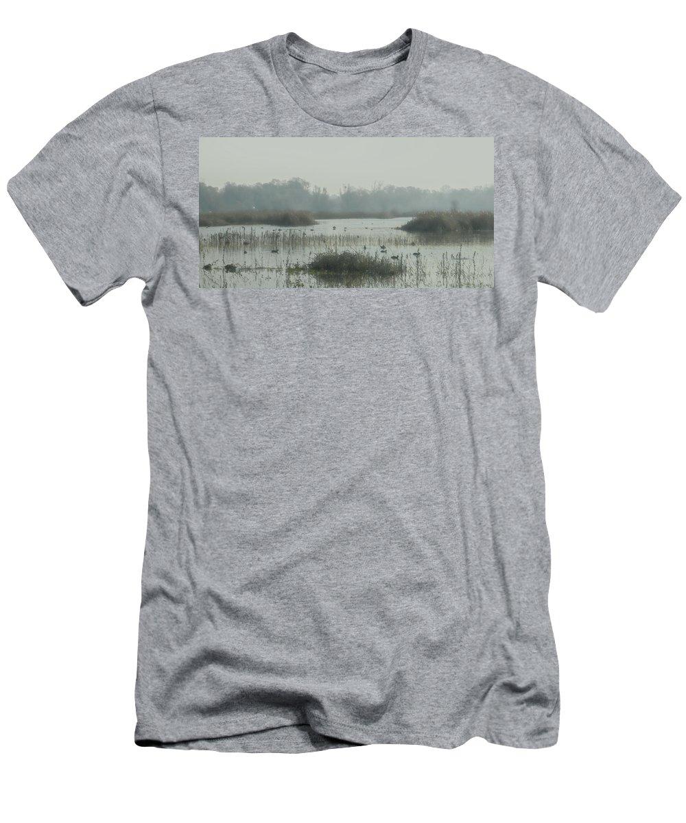 California Men's T-Shirt (Athletic Fit) featuring the digital art Foggy Wetlands by Randy Herring