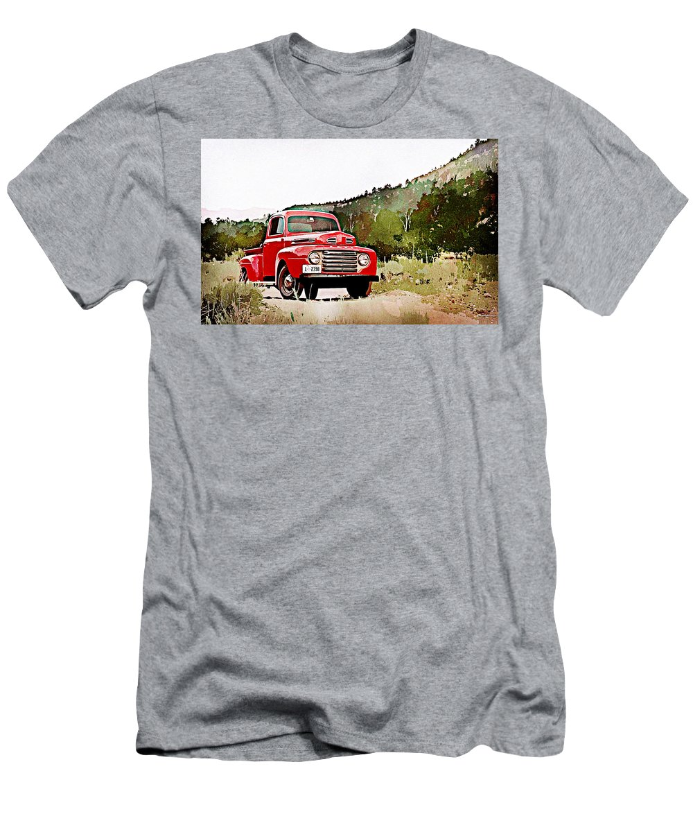 Ford F-1 Men's T-Shirt (Athletic Fit) featuring the digital art Ford F-1 by Lora Battle