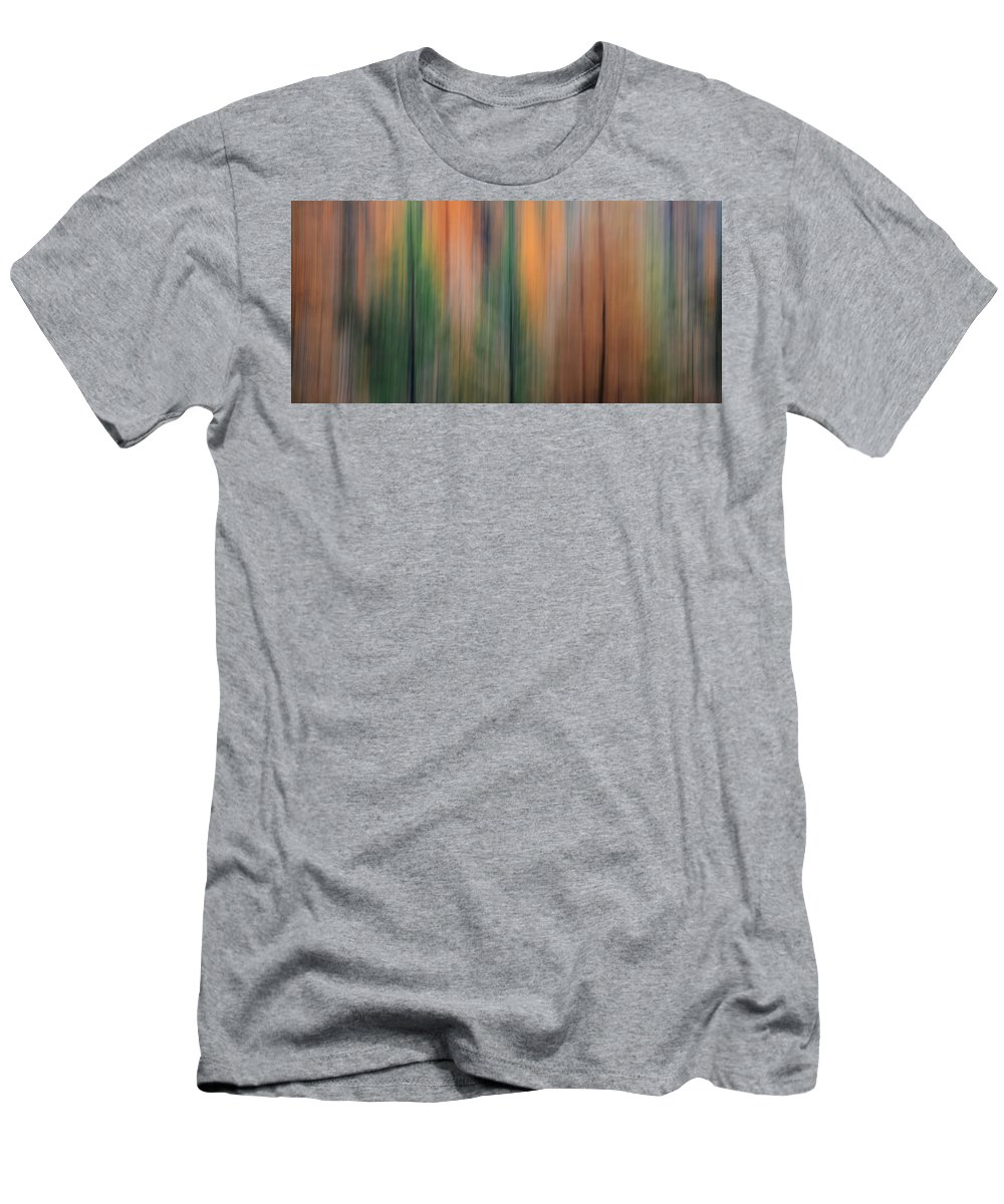 Long Exposure Men's T-Shirt (Athletic Fit) featuring the photograph Forest Illusions -autumn Pastels by Whispering Peaks Photography