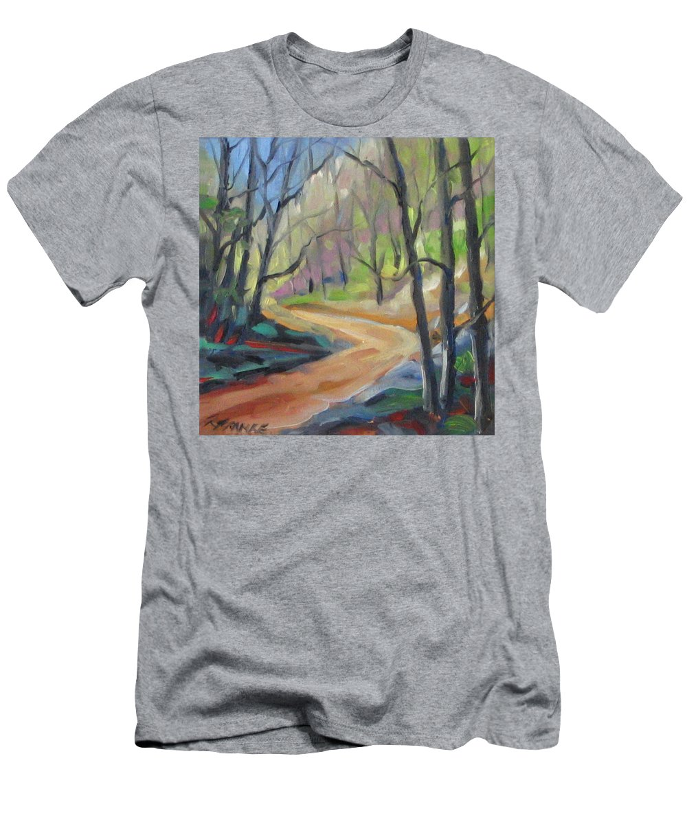 Art Men's T-Shirt (Athletic Fit) featuring the painting Forest Way by Richard T Pranke