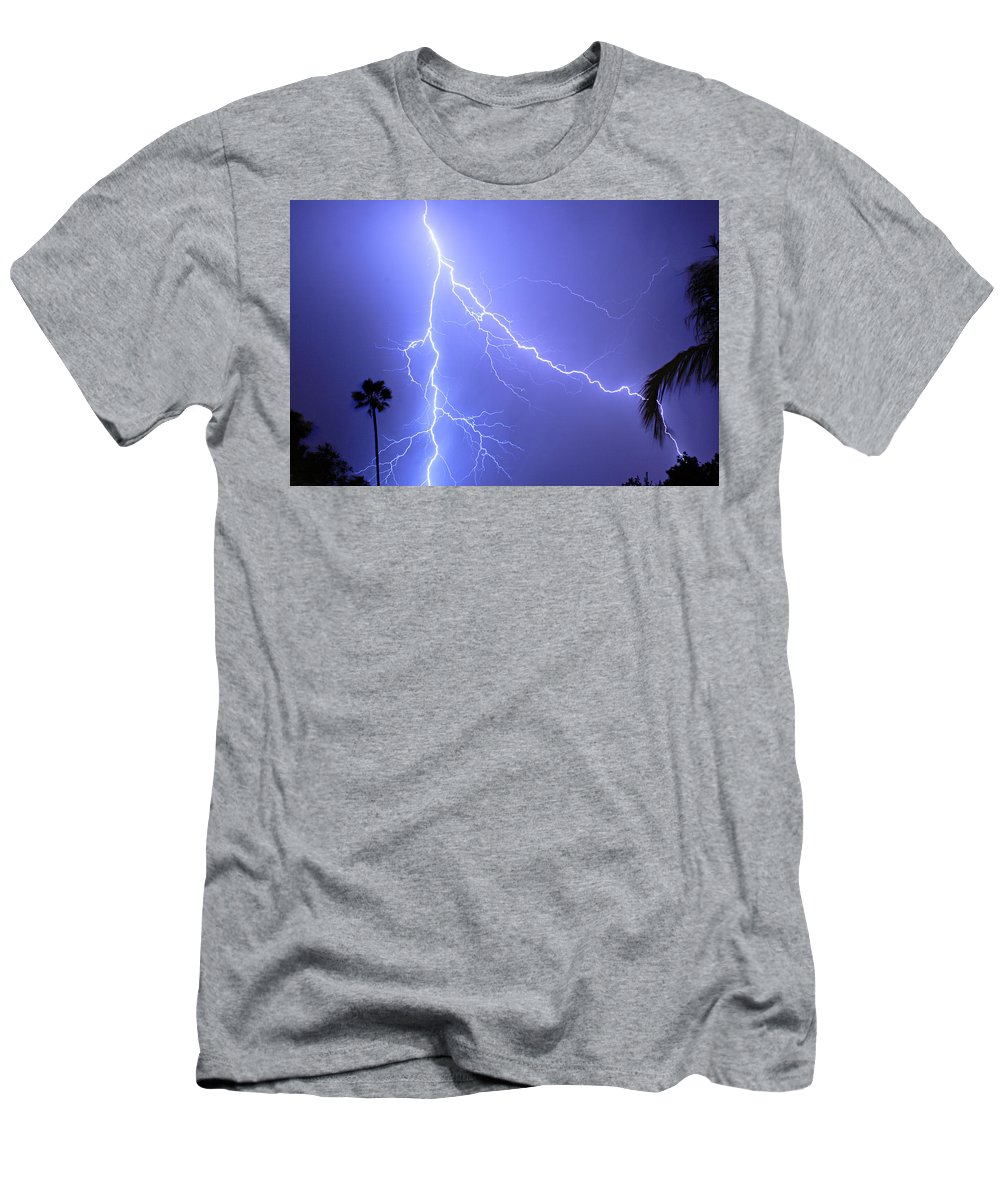 Lightning Men's T-Shirt (Athletic Fit) featuring the photograph Fork In The Sky by James BO Insogna