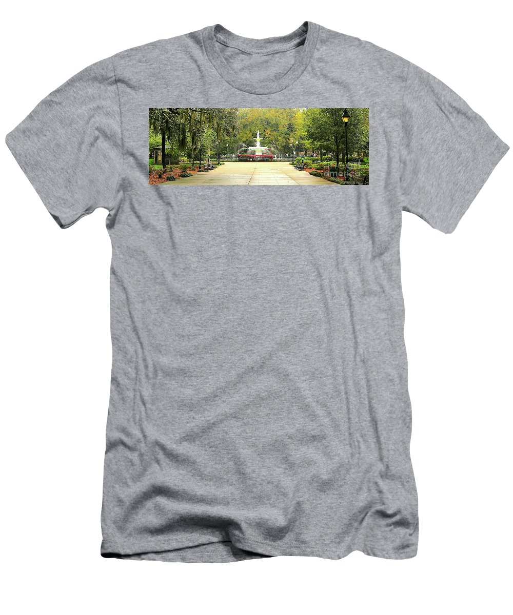 Savannah Men's T-Shirt (Athletic Fit) featuring the photograph Forsyth Park Savannah by Gregory Ponds
