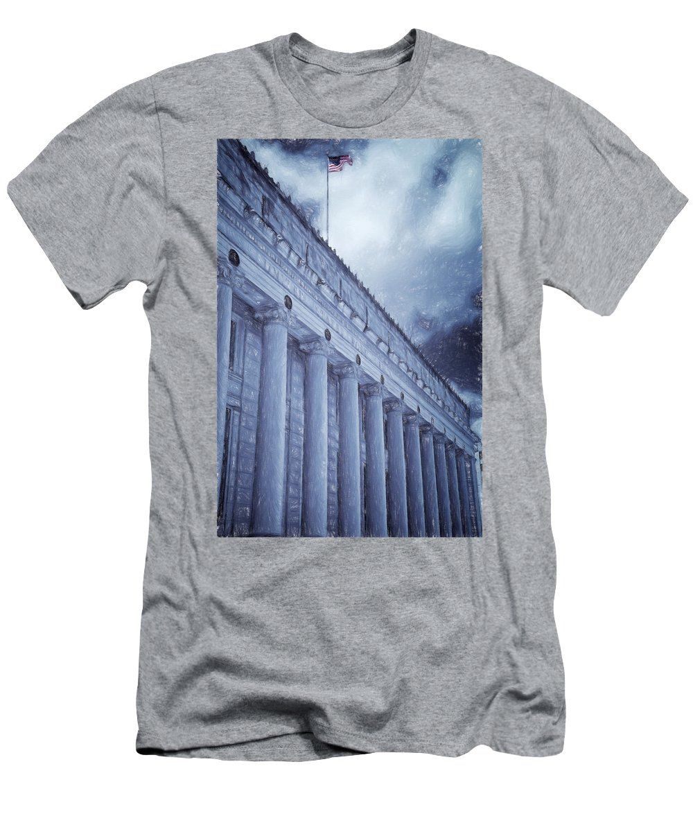 Joan Carroll Men's T-Shirt (Athletic Fit) featuring the photograph Fort Worth Impressions Post Office by Joan Carroll