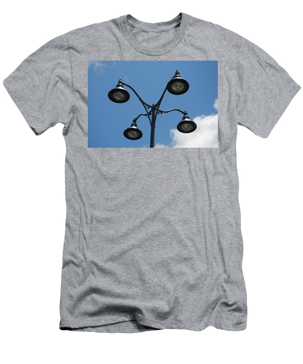 Lamps Men's T-Shirt (Athletic Fit) featuring the photograph Four Lamps by Rob Hans