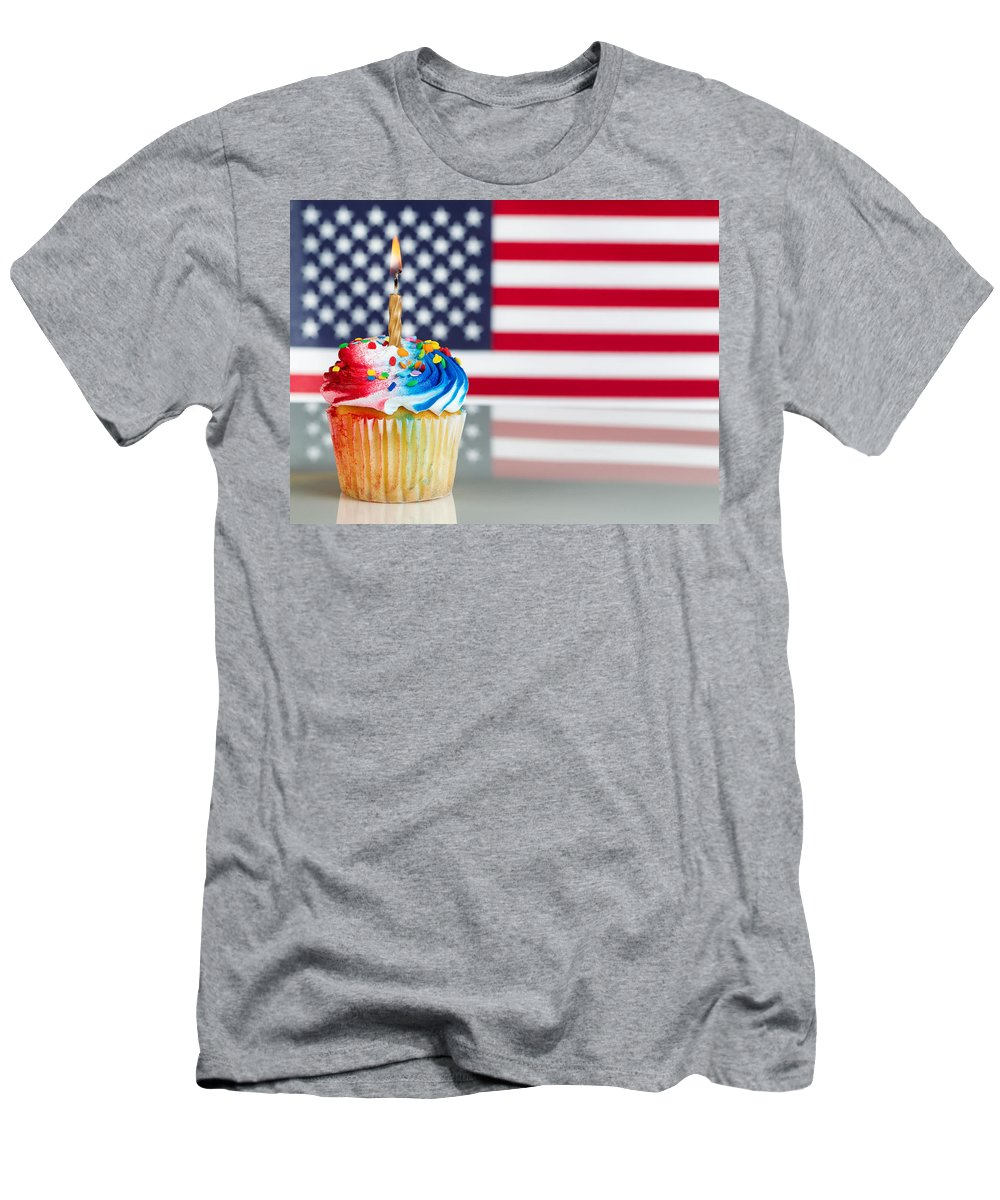 Holiday Men's T-Shirt (Athletic Fit) featuring the photograph Fourth Of July Cupcake With Light Candle by Thomas Baker