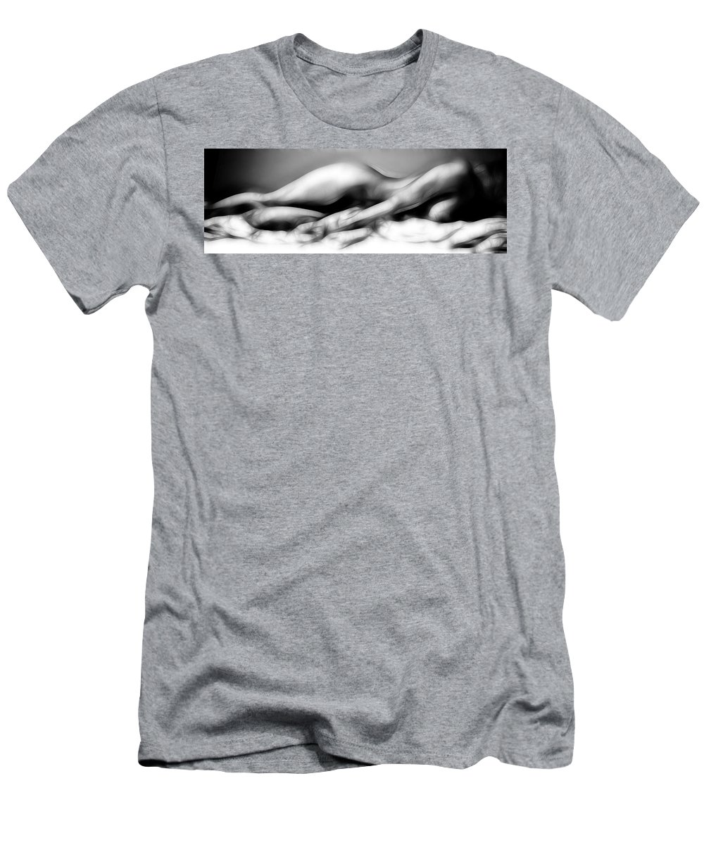 B&w Men's T-Shirt (Athletic Fit) featuring the photograph Fractal Nude 4933 by Timothy Bischoff