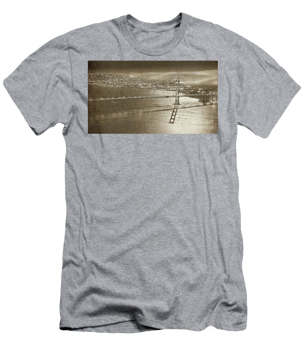 Francisco Men's T-Shirt (Athletic Fit) featuring the painting Francisco Sky Line Vintage by Gull G