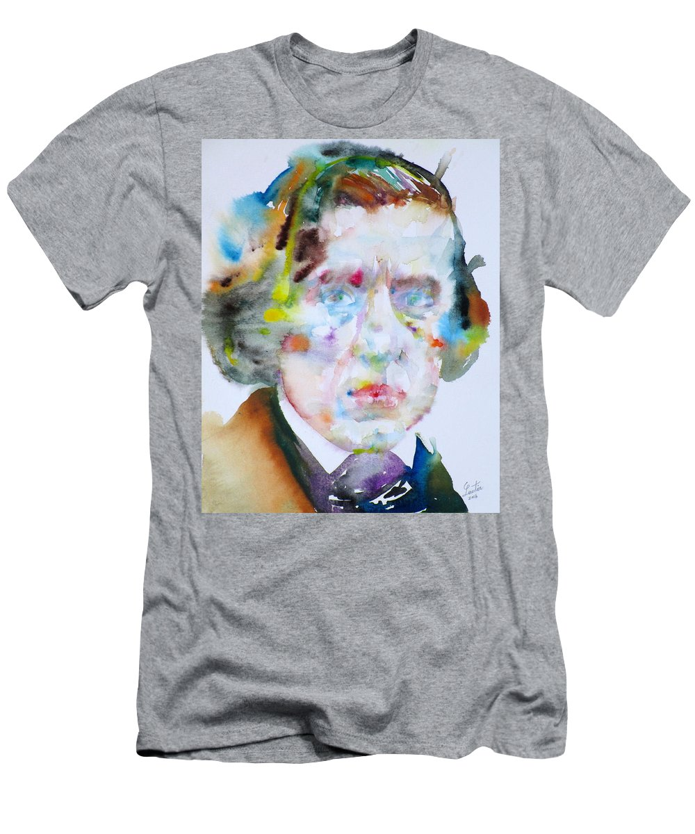 Chopin Men's T-Shirt (Athletic Fit) featuring the painting Frederic Chopin - Watercolor Portrait by Fabrizio Cassetta