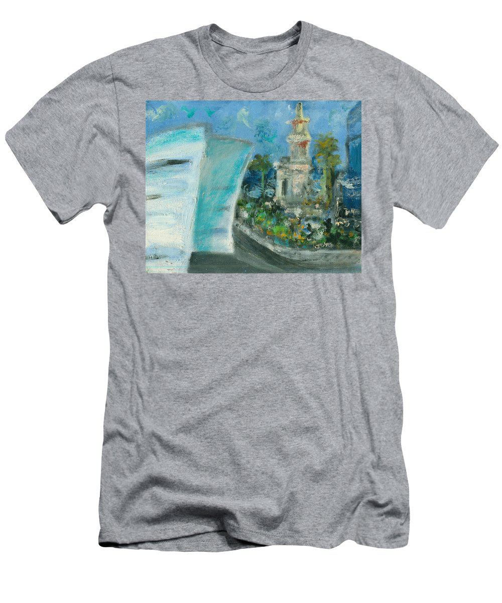 Miami Men's T-Shirt (Athletic Fit) featuring the painting Freedom Tower And Aaa by Jorge Delara