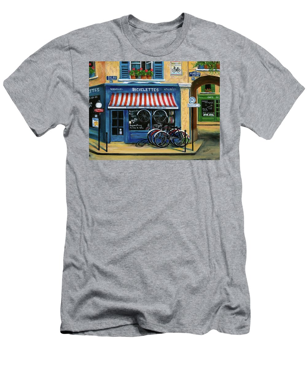 Paris Men's T-Shirt (Athletic Fit) featuring the painting French Bicycle Shop by Marilyn Dunlap