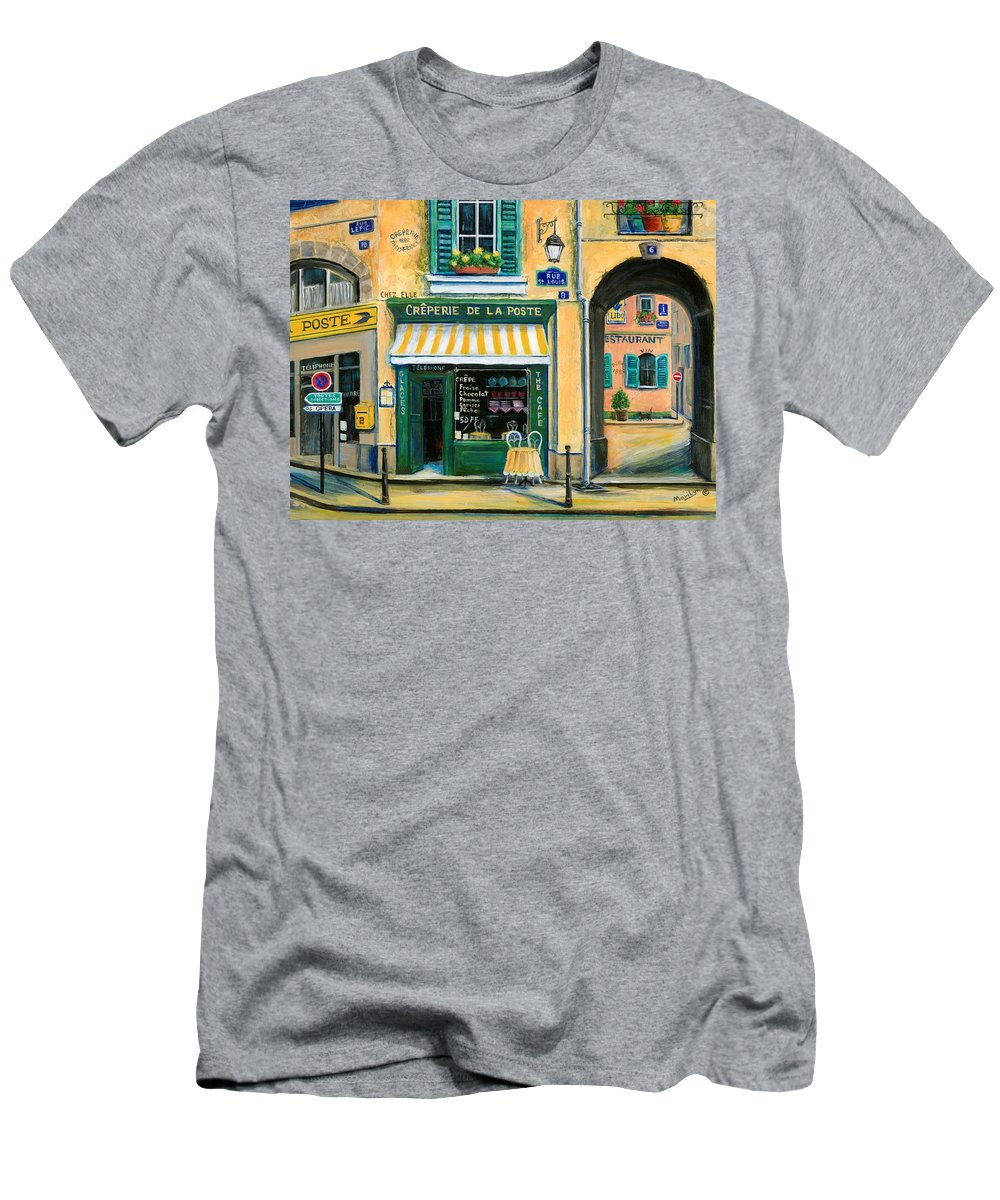 Paris Men's T-Shirt (Athletic Fit) featuring the painting French Creperie by Marilyn Dunlap