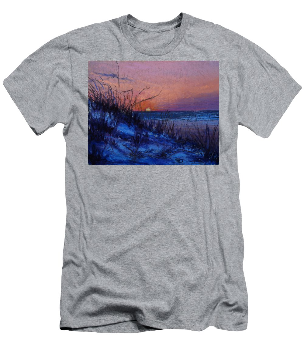 Landscape Men's T-Shirt (Athletic Fit) featuring the pastel Frenchy's Sunset by Susan Jenkins