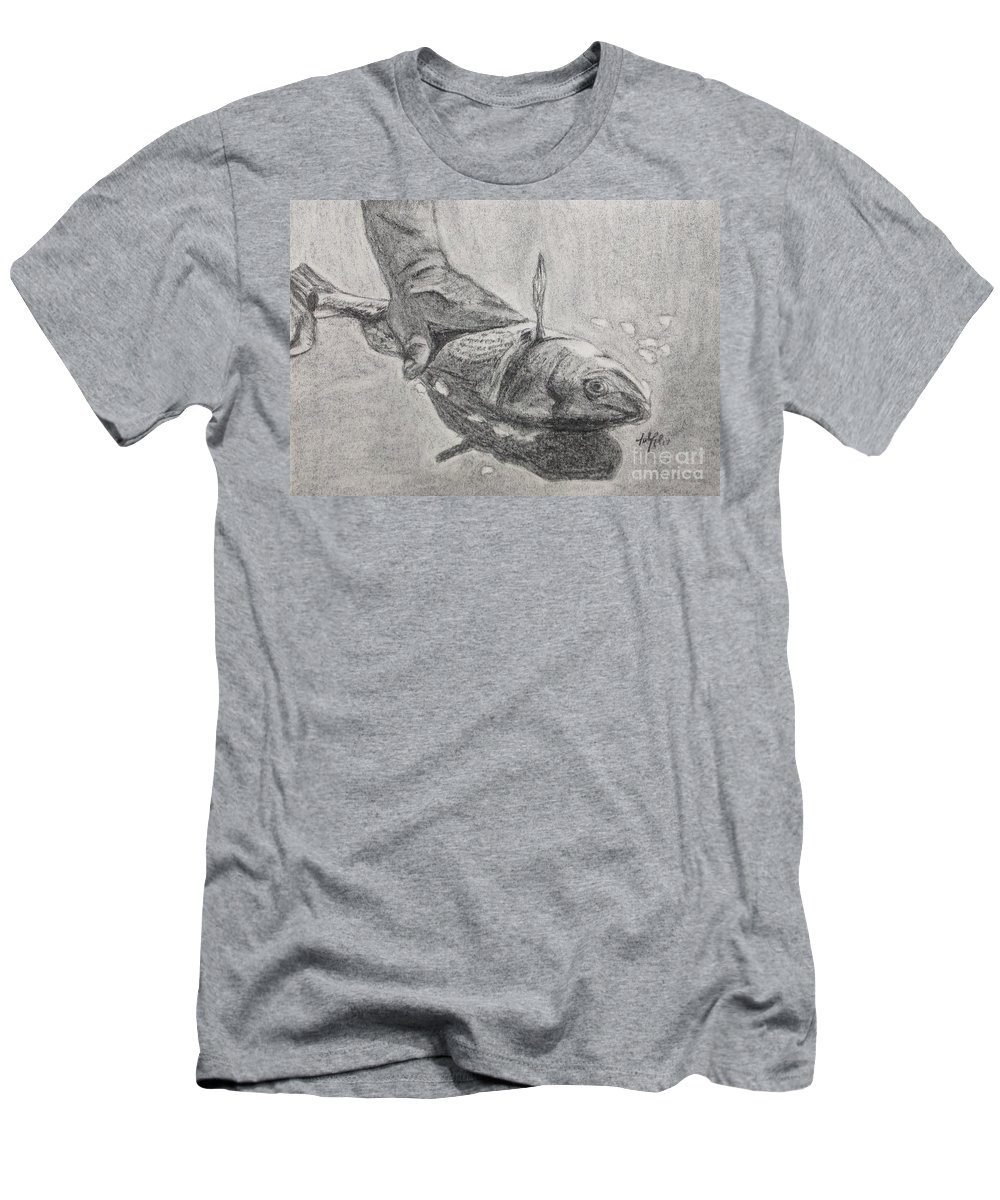 Fish Men's T-Shirt (Athletic Fit) featuring the drawing Fresh Catch by Katie Monzel