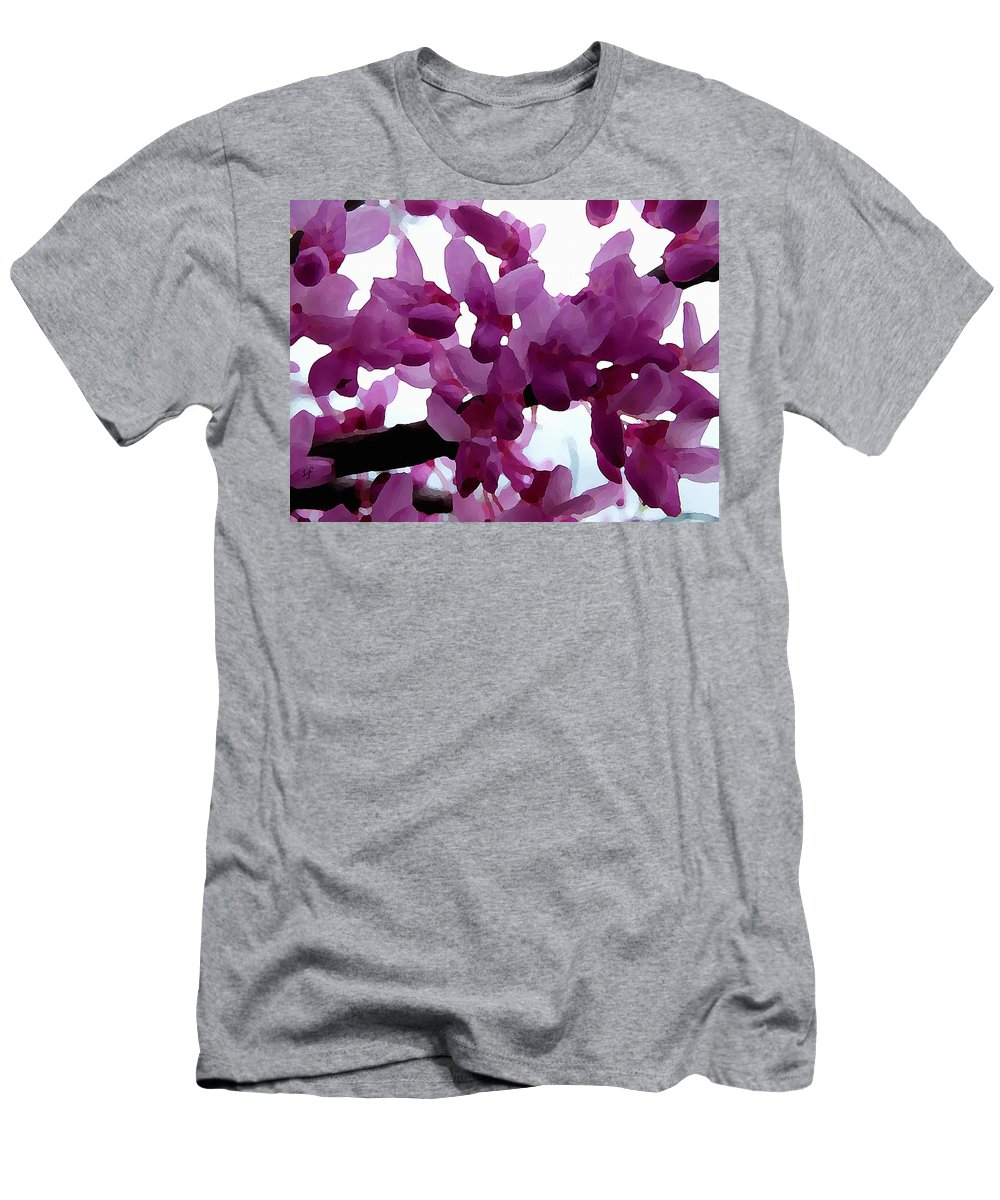 Botanical Men's T-Shirt (Athletic Fit) featuring the digital art Fresh Redbud Blooms by Shelli Fitzpatrick