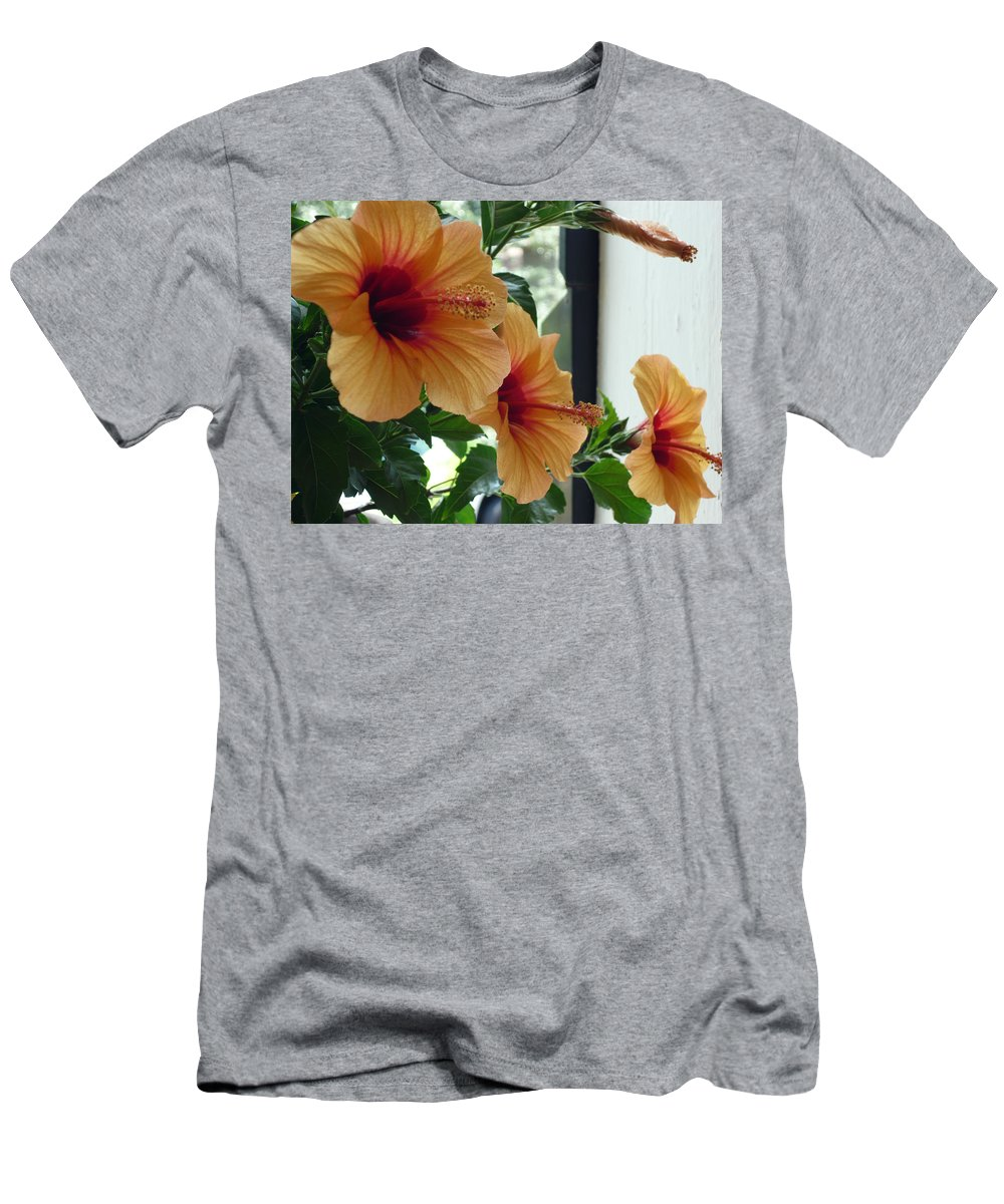 Photography Flower Floral Bloom Hibiscus Peach Men's T-Shirt (Athletic Fit) featuring the photograph Friends For A Day by Karin Dawn Kelshall- Best