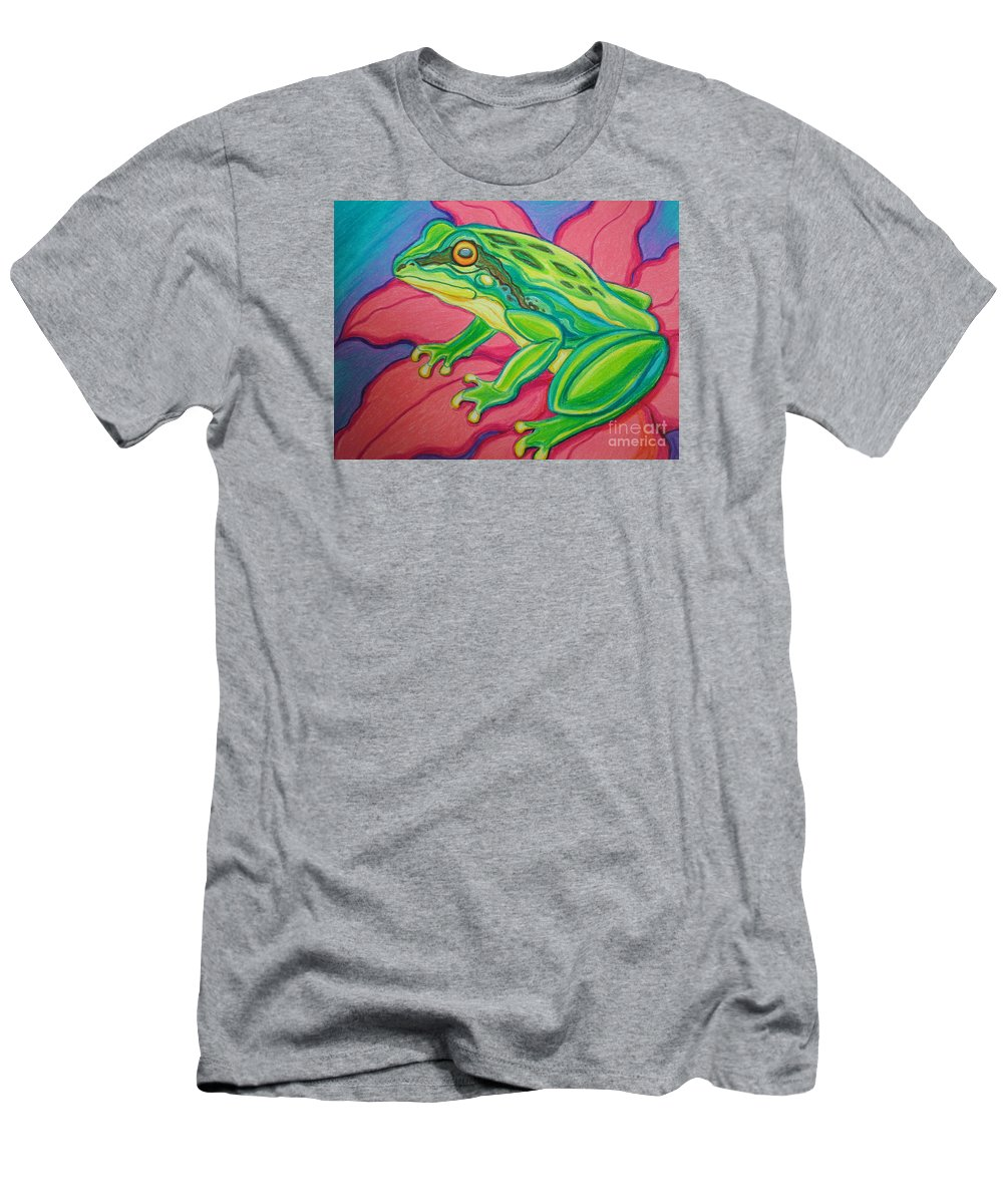 Frog Men's T-Shirt (Athletic Fit) featuring the drawing Frog On Flower by Nick Gustafson