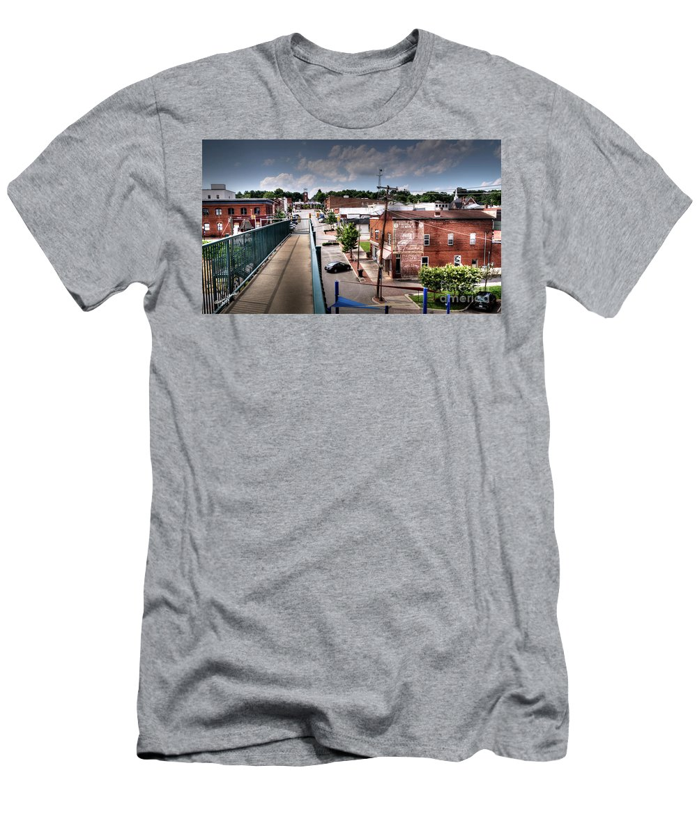Bridge Men's T-Shirt (Athletic Fit) featuring the photograph From The Foot Bridge by Aaron Shortt