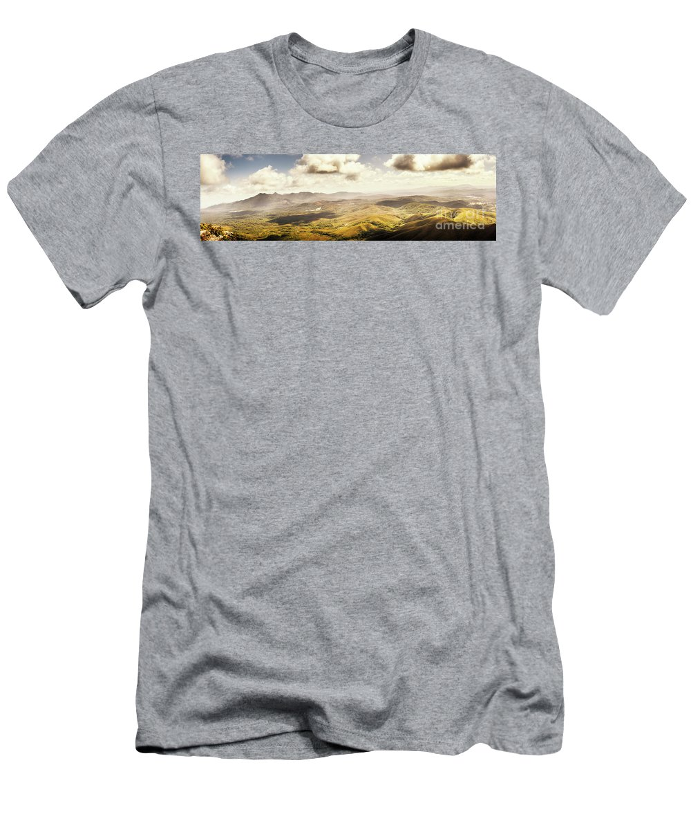 Magnificent Men's T-Shirt (Athletic Fit) featuring the photograph From Zeehan To Trial Harbour by Jorgo Photography - Wall Art Gallery
