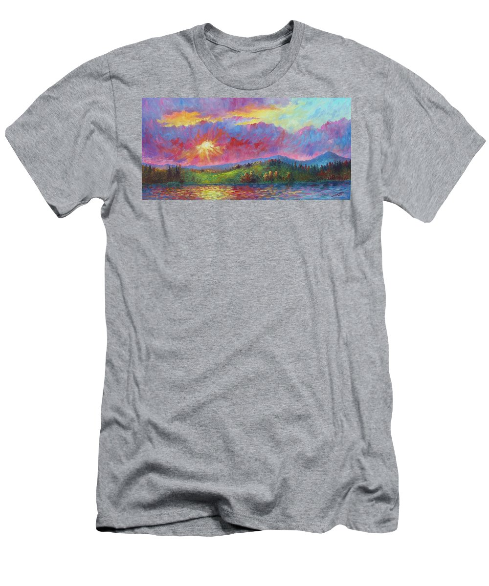 Landscape Men's T-Shirt (Athletic Fit) featuring the painting Front Range Sunset by David G Paul