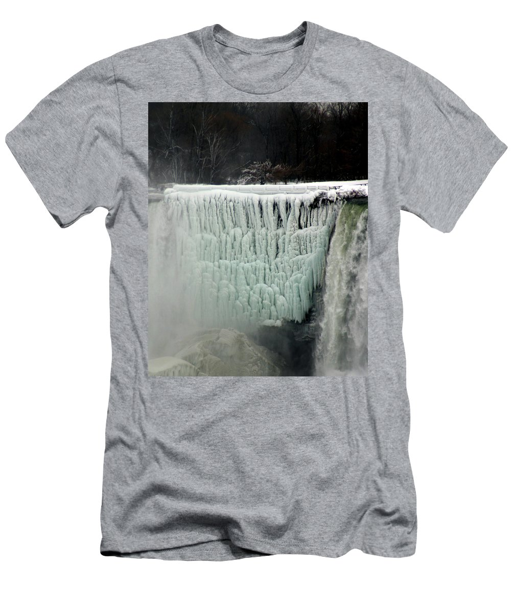 Landscape Men's T-Shirt (Athletic Fit) featuring the photograph Frozen Falls by Anthony Jones