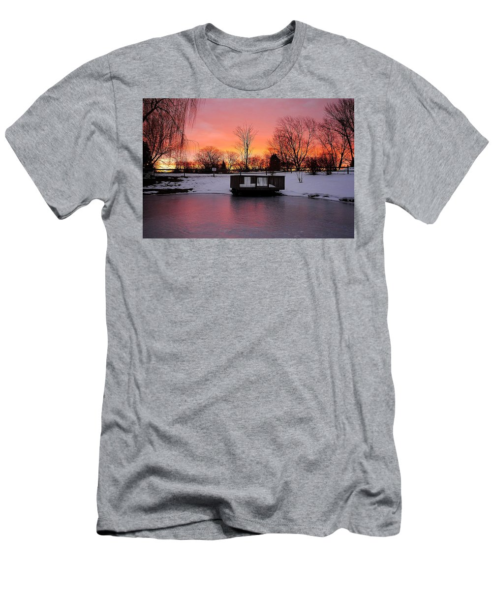 Sunrise Men's T-Shirt (Athletic Fit) featuring the photograph Frozen Sunrise by Frozen in Time Fine Art Photography