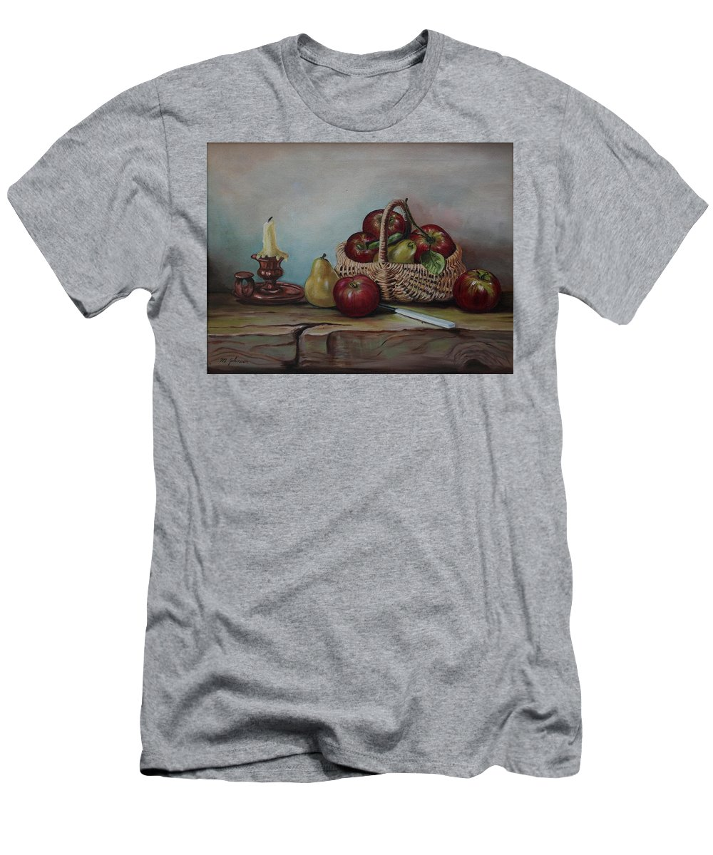 Fruit Basket Men's T-Shirt (Athletic Fit) featuring the painting Fruit Basket - Lmj by Ruth Kamenev