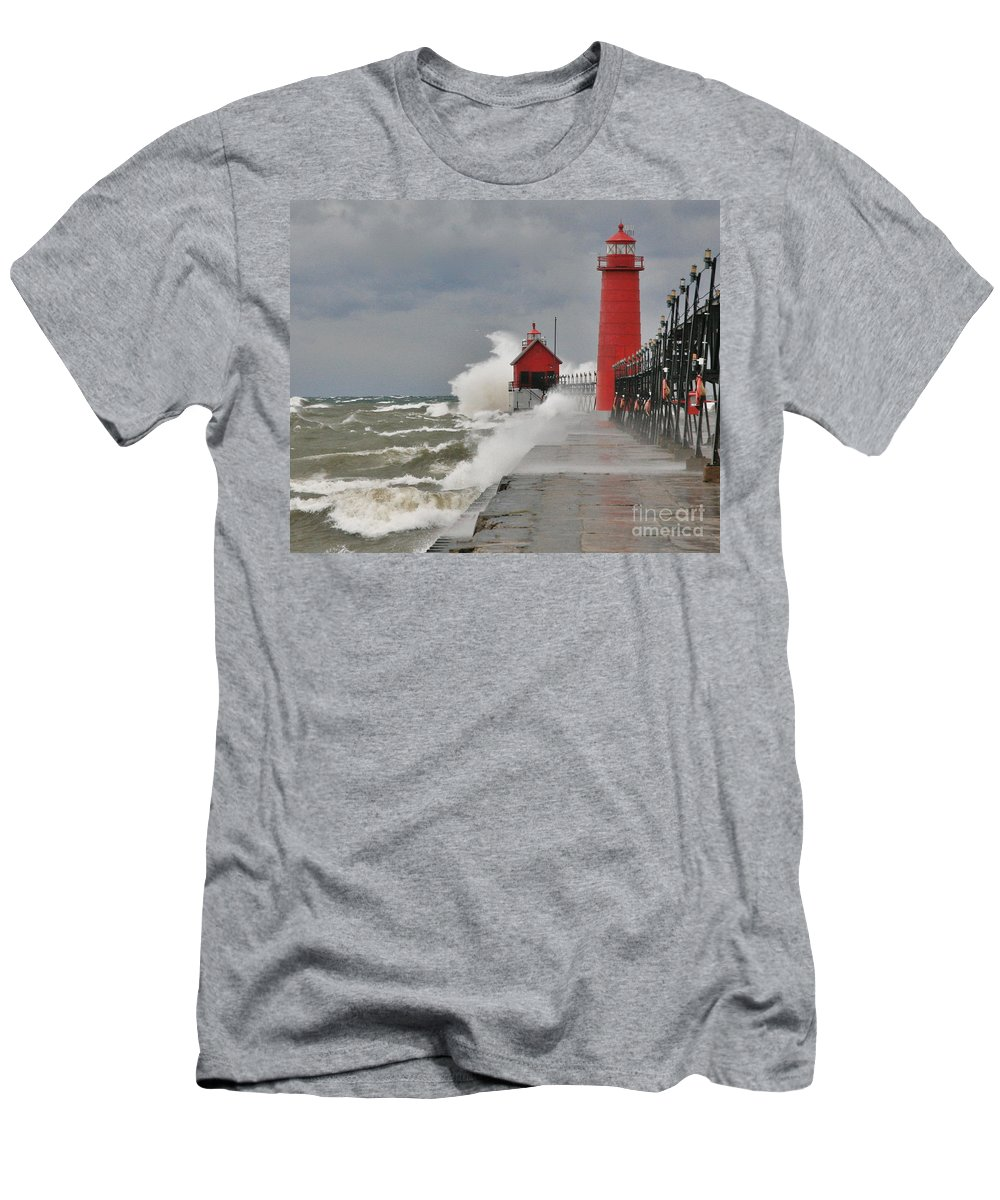 Light House Men's T-Shirt (Athletic Fit) featuring the photograph Gale Warnings by Robert Pearson