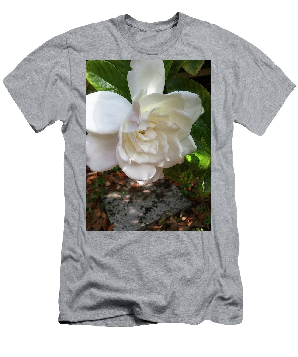 Gardenia Men's T-Shirt (Athletic Fit) featuring the photograph Gardenia Blossom by Ginny Schmidt